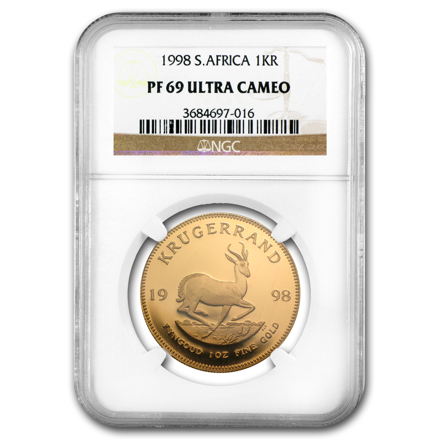 1998 South Africa 1 oz Gold Krugerrand PF-69 NGC